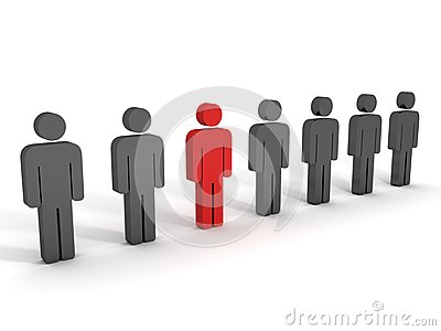 one different red person figure in team group