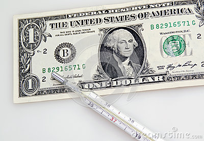 One Dollar Banknote And Thermometer Royalty Free Stock Image - Image: 26936166