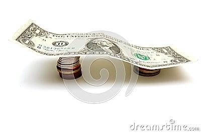 One Dollar Bill on Coins