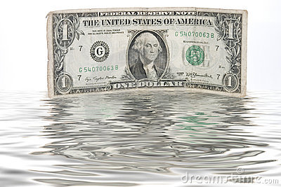 A one-dollar bill immersed in water - CASH FLOW