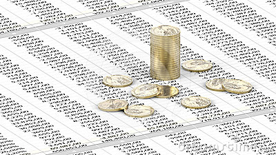 One Dollar coins on spreadsheet