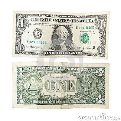 Free One Dollar Isolated Royalty Free Stock Photo - 359575