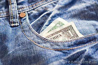 One dollar in jeans