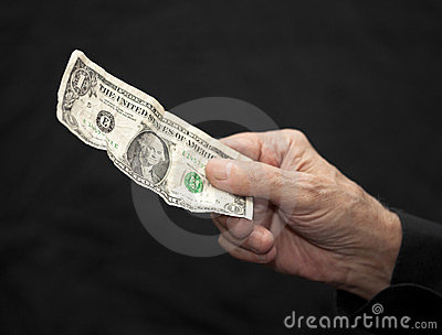 One Dollar in old hand