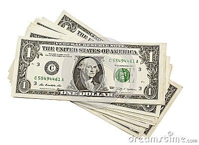 One dollar on white