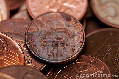 One drachmas, old Greek coin among euro coins