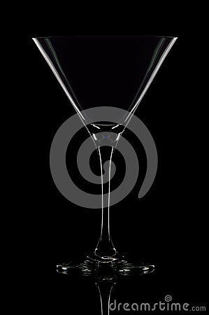 Free One Empty Martini Glass On Black Background. Stock Photography - 35356652