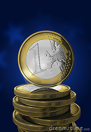 One euro coin in blue