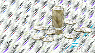 One Euro coins on spreadsheet