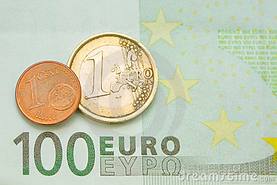One euro, one cent on one hundred euro bill