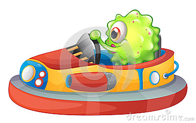 A one-eyed monster riding a car