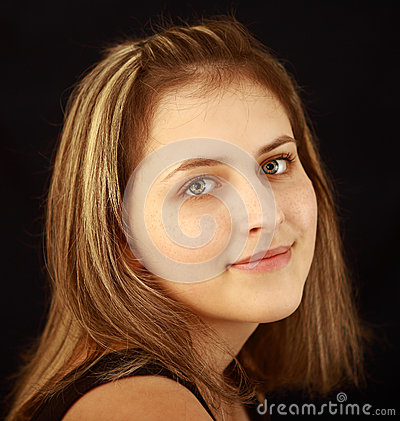 Teen girl 17 years old, gray-eyed, freckled, caucasian appearanc