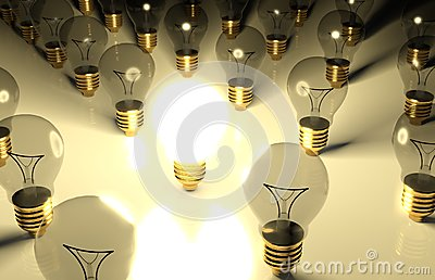 One glowing light bulb and the other light bulbs
