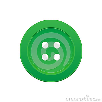 One Green Button with 4 Holes