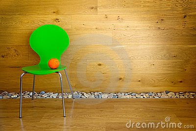 One green Chair and one Orange / modern interior