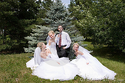 One groom with three brides