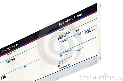 one grungy air ticket isolated, paper texture