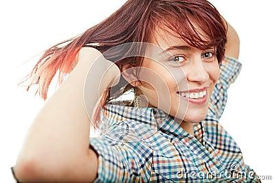 One happy cheerful cute teen woman