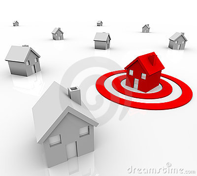 Free One House In Bulls-Eye Target - Marketing Stock Image - 19016201
