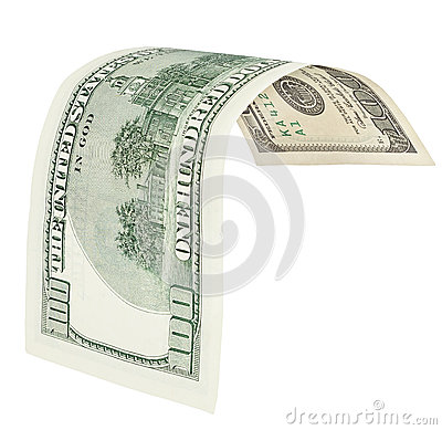One hundred dollar banknote with clipping path