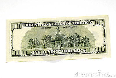 One hundred dollar bill back