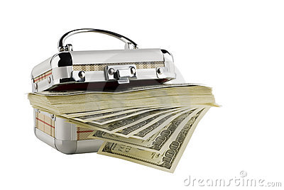 One hundred dollar bills in a box on a white