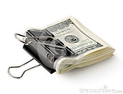 One hundred dollar bills in the clip