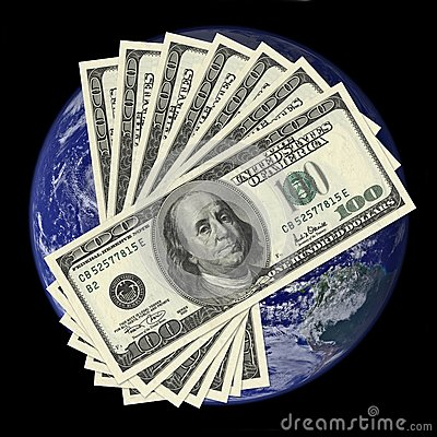 One hundred dollar bills on earth background