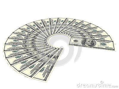 One Hundred Dollar Bills Fan On White Background