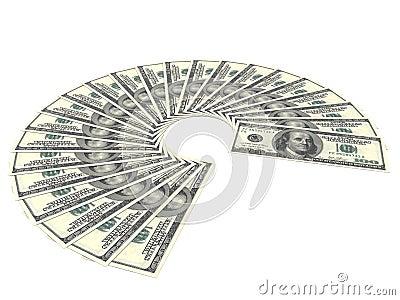 One Hundred Dollar Bills Fan On White Background