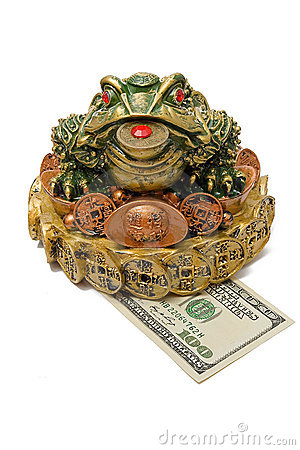 Free One Hundred Dollar Under A Three-pad Frog Royalty Free Stock Photography - 7167137
