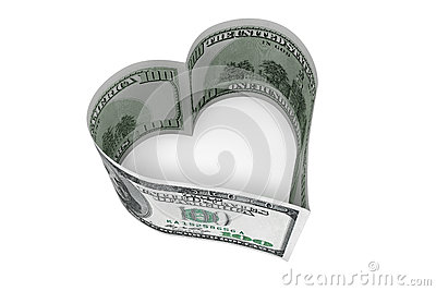 One hundred dollars bill as heart