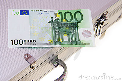 One hundred euro banknote an aluminum suitcase