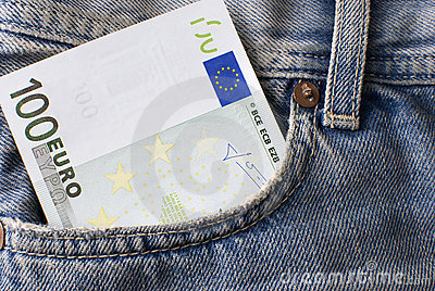 One hundred Euro banknote in jeans pocket.