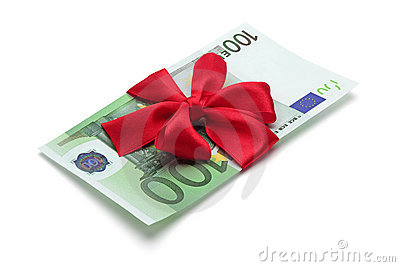 One hundred euro banknote with red bow.