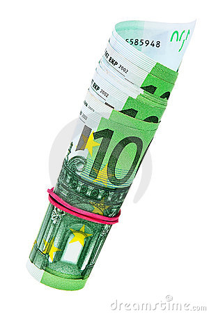 One hundred Euro banknotes roll.