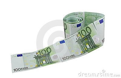 One hundred euro banknotes toilet paper