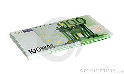 One hundred euro bills