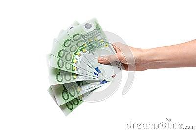 One hundred euro in feminine hand