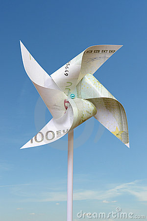 One hundred euro toy windmill