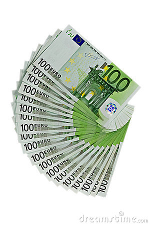 One hundred Euros banknotes on white