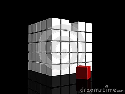 One individuality red cube on dark backround