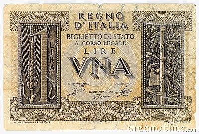 ONE ITALIAN LIRE