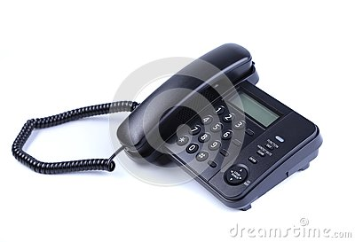 One landline phone on white background