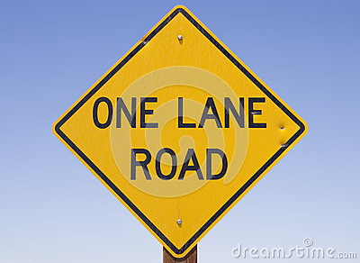 One Lane Road Sign