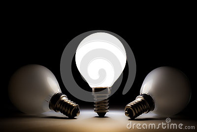 One light bulb shining other bulbs dead