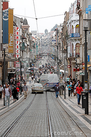 Shopping street of Porto Editorial Image