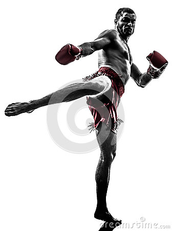 Free One Man Exercising Thai Boxing Silhouette Royalty Free Stock Images - 38901189