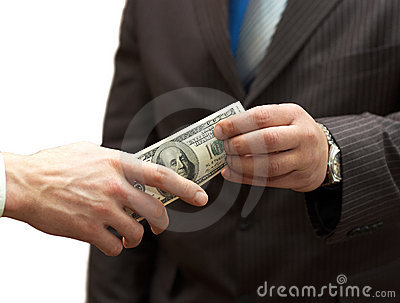 One man hands money to businessman