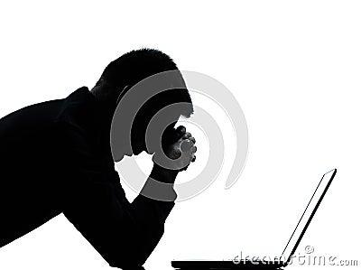 One man silhouette computing computer despair